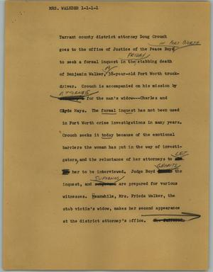 Primary view of object titled '[News Script: Mrs. Walkder]'.