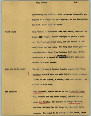 Primary view of object titled '[News Script: Frog awards]'.
