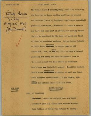 Primary view of object titled '[News Script: Cage probe]'.