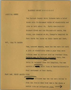Primary view of object titled '[News Script: Electric shock]'.