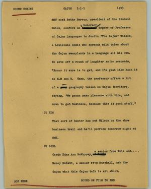 Primary view of object titled '[News Script: Cajun]'.