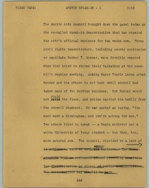 Primary view of object titled '[News Script: Austin speak in]'.