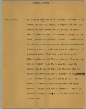 Primary view of object titled '[News Script: Theatre artists]'.