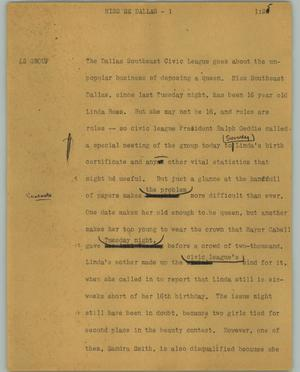 Primary view of object titled '[News Script: Miss SE Dallas]'.