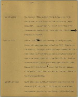 Primary view of object titled '[News Script: YMCA]'.