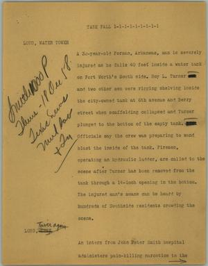 Primary view of object titled '[News Script: Tank fall]'.