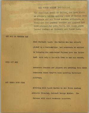 Primary view of object titled '[News Script: Air Force Academy]'.