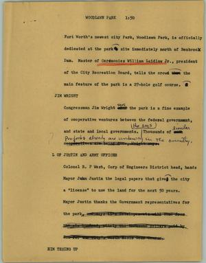 Primary view of object titled '[News Script: Woodlawn Park]'.