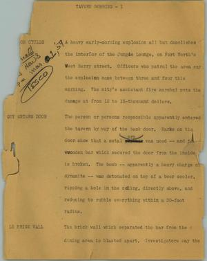 Primary view of object titled '[News Script: Tavern bombing]'.