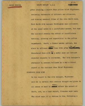 Primary view of object titled '[News Script: Scott report]'.