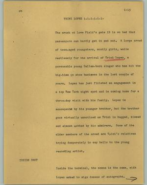 Primary view of object titled '[News Script: Trini Lopez]'.
