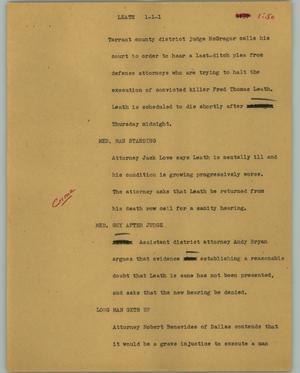 Primary view of object titled '[News Script: Leath]'.