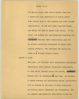 Primary view of object titled '[News Script: Exams]'.