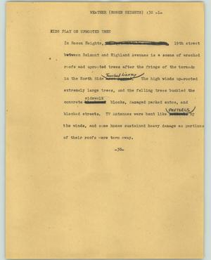 Primary view of object titled '[News Script: Weather-Rosen Heights]'.