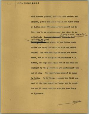Primary view of object titled '[News Script: Civil servant]'.