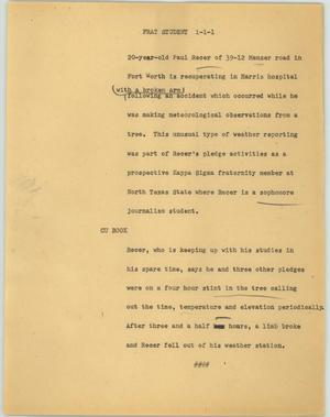 Primary view of object titled '[News Script: Frat student]'.