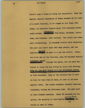 Primary view of object titled '[News Script: Six Flags]'.