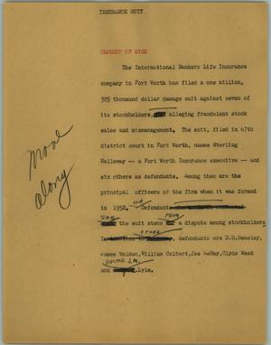 Primary view of object titled '[News Script: Insurance suit]'.