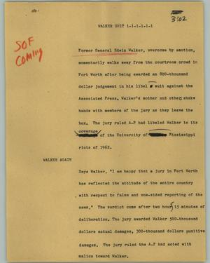 Primary view of object titled '[News Script: Walker suit]'.