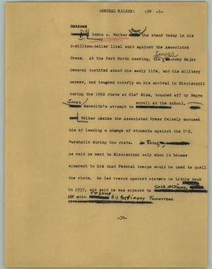 Primary view of object titled '[News Script: General Walker]'.
