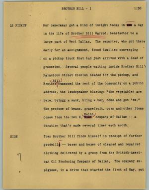 Primary view of object titled '[News Script: Brother Bill]'.