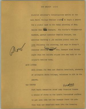 Primary view of object titled '[News Script: Gun search]'.