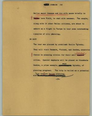 Primary view of object titled '[News Script: Jonsson]'.