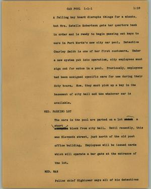 Primary view of object titled '[News Script: Car pool]'.