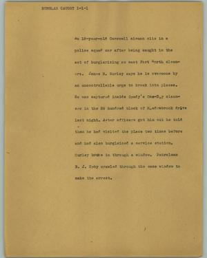 Primary view of object titled '[News Script: Burglar caught]'.