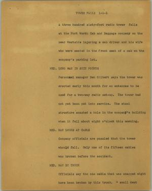 Primary view of object titled '[News Script: Tower falls]'.