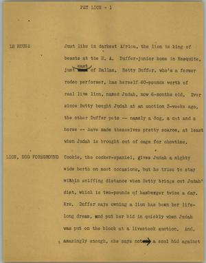 Primary view of object titled '[News Script: Pet lion]'.