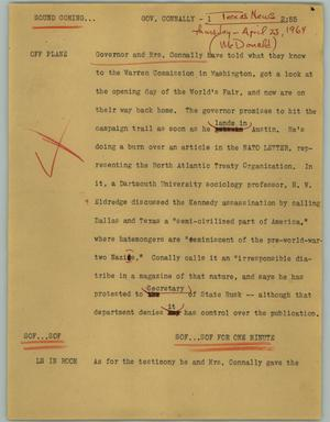 Primary view of object titled '[News Script: Gov. Connally]'.