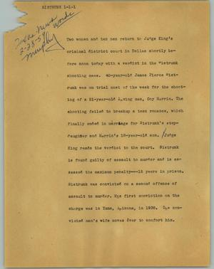 Primary view of object titled '[News Script: Sistrunk]'.