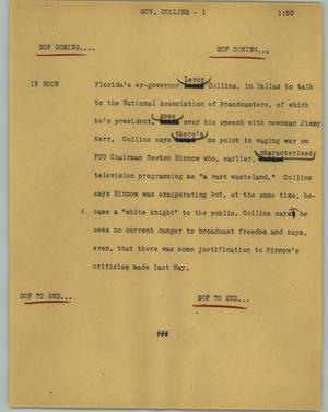 Primary view of object titled '[News Script: Gov. Collins]'.