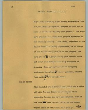 Primary view of object titled '[News Script: Holiday patrol]'.