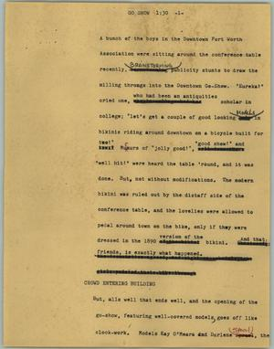 Primary view of object titled '[News Script: Go show]'.