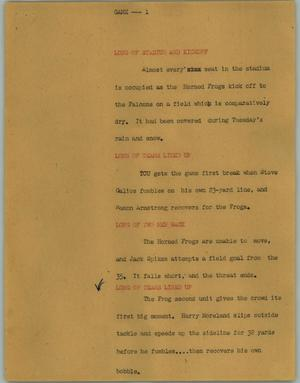 Primary view of object titled '[News Script: Game]'.