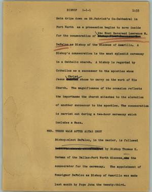 Primary view of object titled '[News Script: Bishop]'.