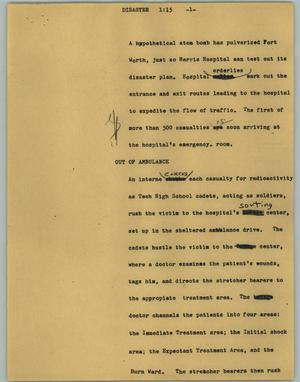Primary view of object titled '[News Script: Disaster]'.