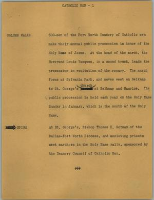Primary view of object titled '[News Script: Catholic men]'.