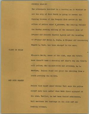 Primary view of object titled '[News Script: Penguin hearing]'.