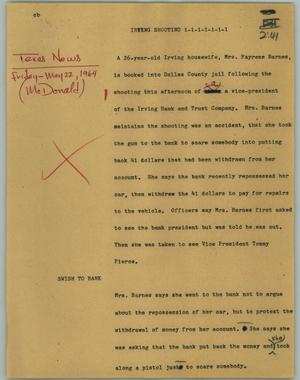 Primary view of object titled '[News Script: Irving shooting]'.
