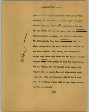 Primary view of object titled '[News Script: Gasoline war]'.
