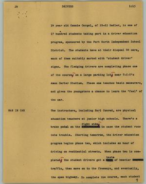 Primary view of object titled '[News Script: Drivers]'.