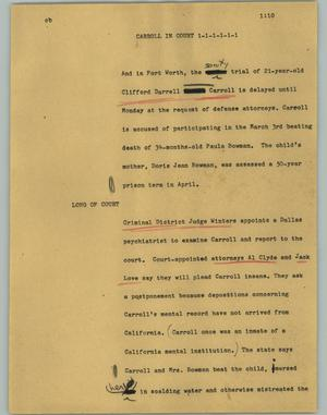 Primary view of object titled '[News Script: Carroll in court]'.