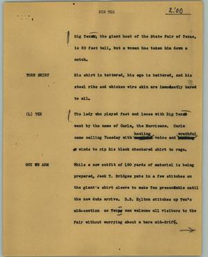 Primary view of object titled '[News Script: Big Tex]'.