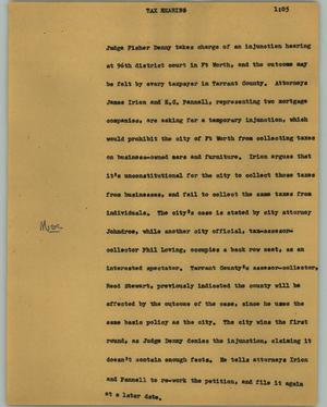 Primary view of object titled '[News Script: Tax hearing]'.