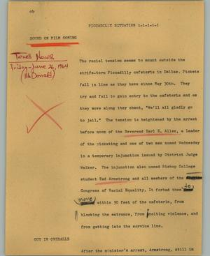 Primary view of object titled '[News Script: Piccadilly situation]'.