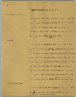 Primary view of object titled '[News Script: Triplets]'.