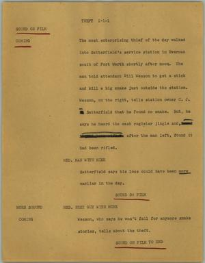 Primary view of object titled '[News Script: Theft]'.